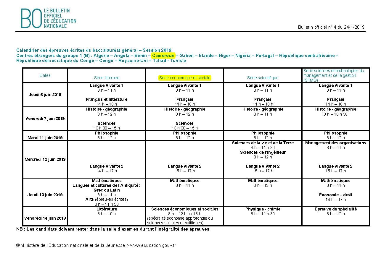 Calendrier Epreuve Bac 2019.Dates Du Bac 2019 Lycee Francais Le Concorde